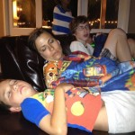 Poor kids/moms are tuckered out after a long day of work and play.  Thanks, Jen for giving us such a great party!