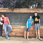 The Kids and Elise at the plaque at the park
