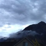A panoramic view of the storm clouds in the morning