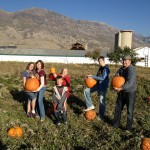 OK, here it is, the pumpkin gang ready to cut these pumpkins open, hopefully the Great Pumpkin will not see this