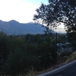 Panoramic view of the office parking lot overlooking BYU