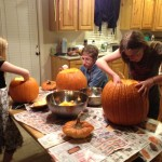 "All the kids wanted to carve pumpkins, so we took the ones that were outside and put them on the table to perform ""autopsies"" on them."