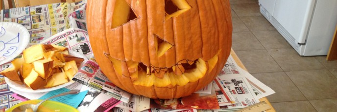 Zo made this pumpkin watch while she drew kitty whiskers on the other one