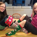 On Saturday, Elise and I went out to get lunch, and we got these cool toe socks. The girls were excited that they had to put them on right away.
