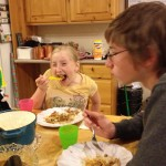 Kas and Zo taking down some Hawaiian Haystacks
