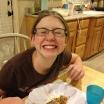 Netter smiling for the camera while eating some good food