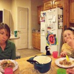 A panoramic view of the dinner, look at how cool the table looks in this