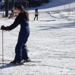 Netter slowly going down the hill as she learns to ski, and is feeling the slight incline