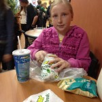Zo had to stop for lunch before getting holes in her ears