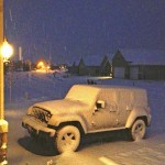 Awoke Saturday morning to find this, the Jeep covered in snow