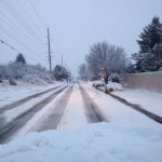 Elise took this as she was driving, the roads were covered in snow and ice