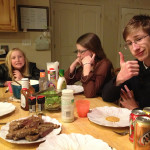 Sunday dinner with steak and the kids