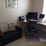 The new office configuration with the Ikea sofa
